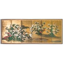 Japanese Edo Era Rinpa School Chrysanthemum Gold Leaf Folding Screen, Mid-1700s
