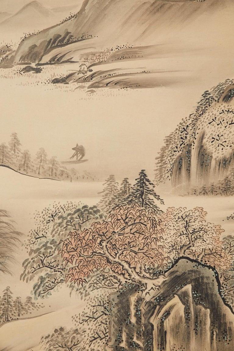 Japanese Edo Four-Panel Screen Hangzhou Autumn Landscape For Sale 5