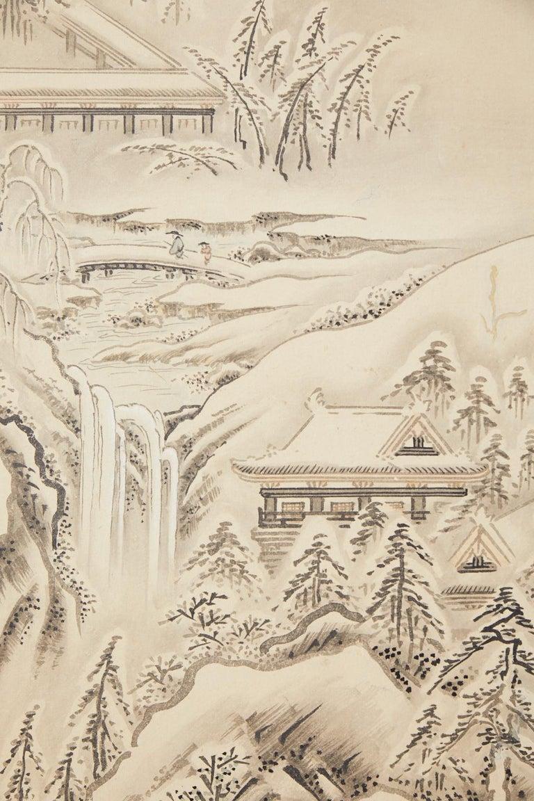 Japanese Edo Four-Panel Screen Hangzhou Autumn Landscape For Sale 6