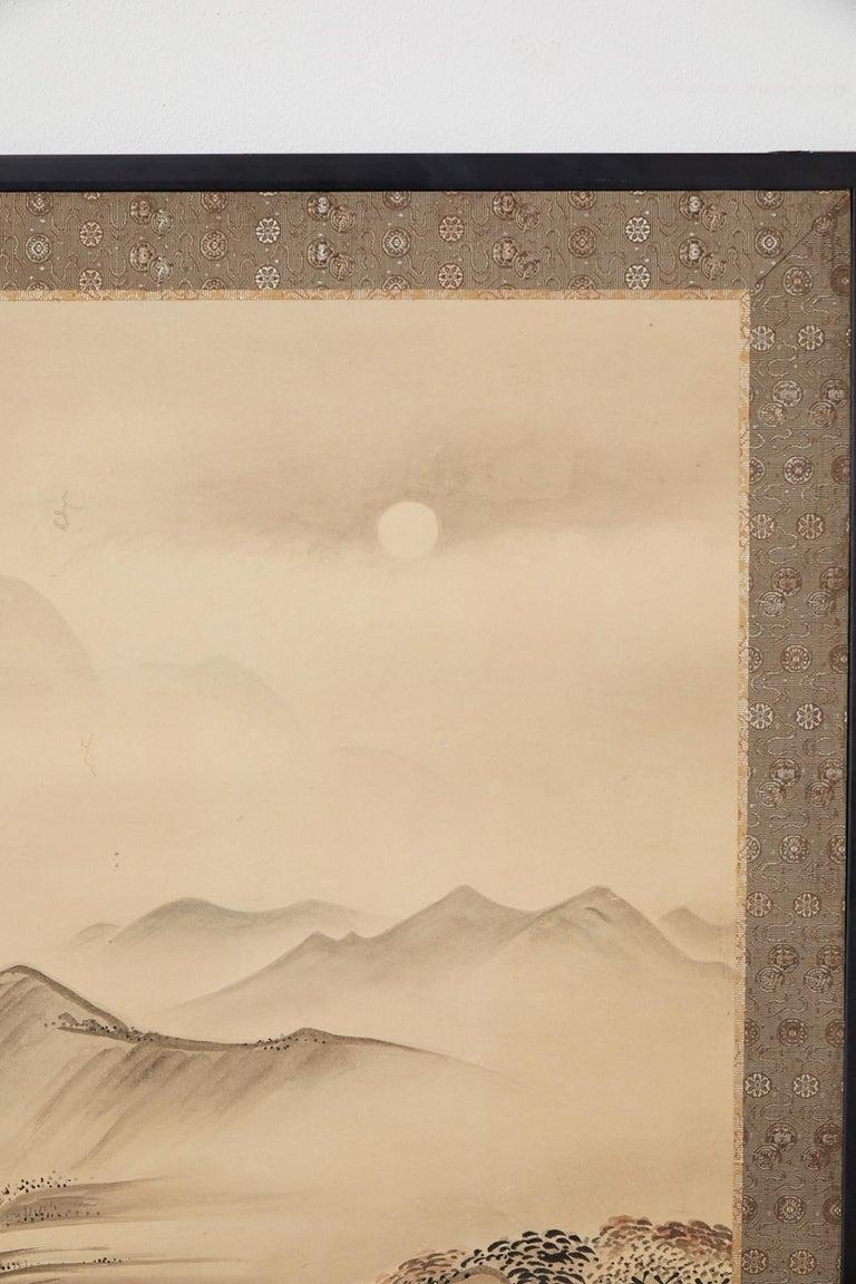 Japanese Edo Four-Panel Screen Hangzhou Autumn Landscape For Sale 7