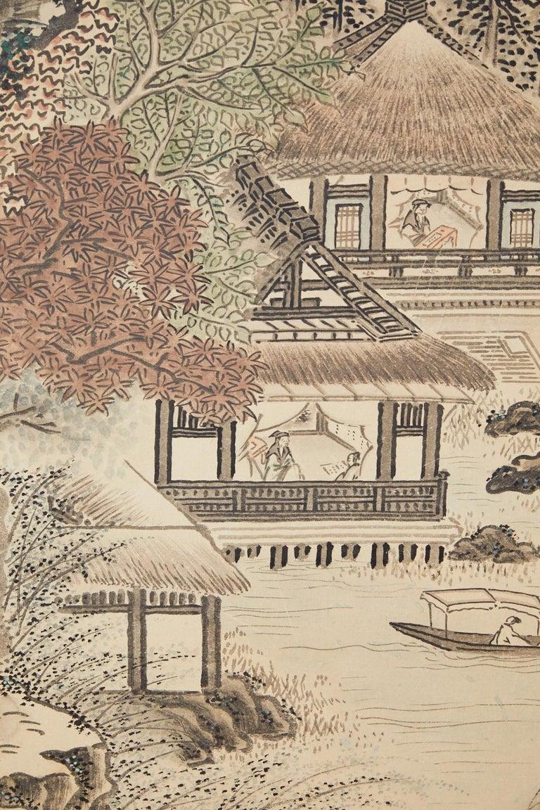 Japanese Edo Four-Panel Screen Hangzhou Autumn Landscape For Sale 8