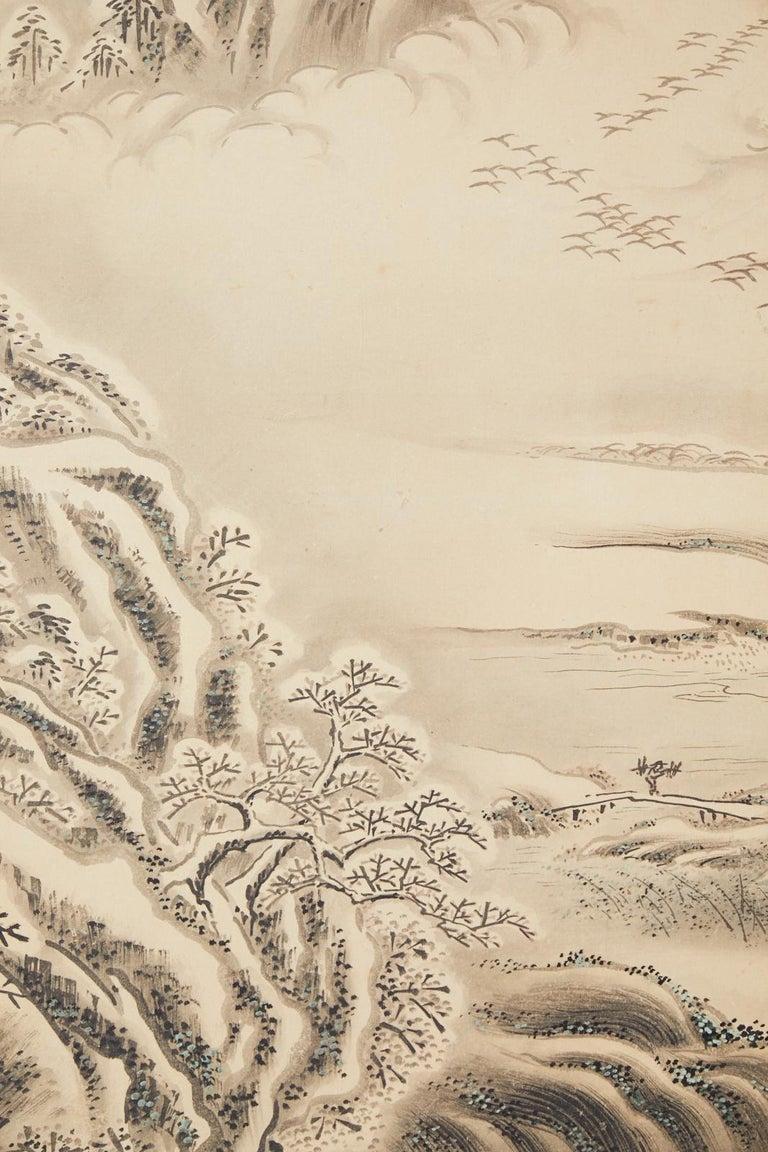 Japanese Edo Four-Panel Screen Hangzhou Autumn Landscape For Sale 9