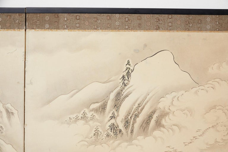Japanese Edo Four-Panel Screen Hangzhou Autumn Landscape For Sale 10