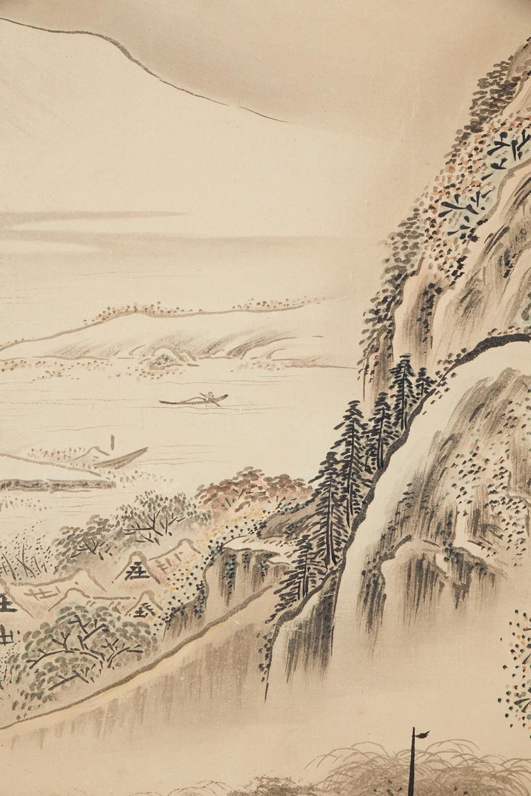 Japanese Edo Four-Panel Screen Hangzhou Autumn Landscape For Sale 11