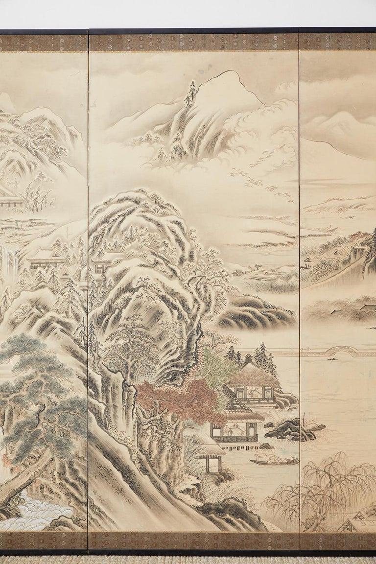 Ebonized Japanese Edo Four-Panel Screen Hangzhou Autumn Landscape For Sale