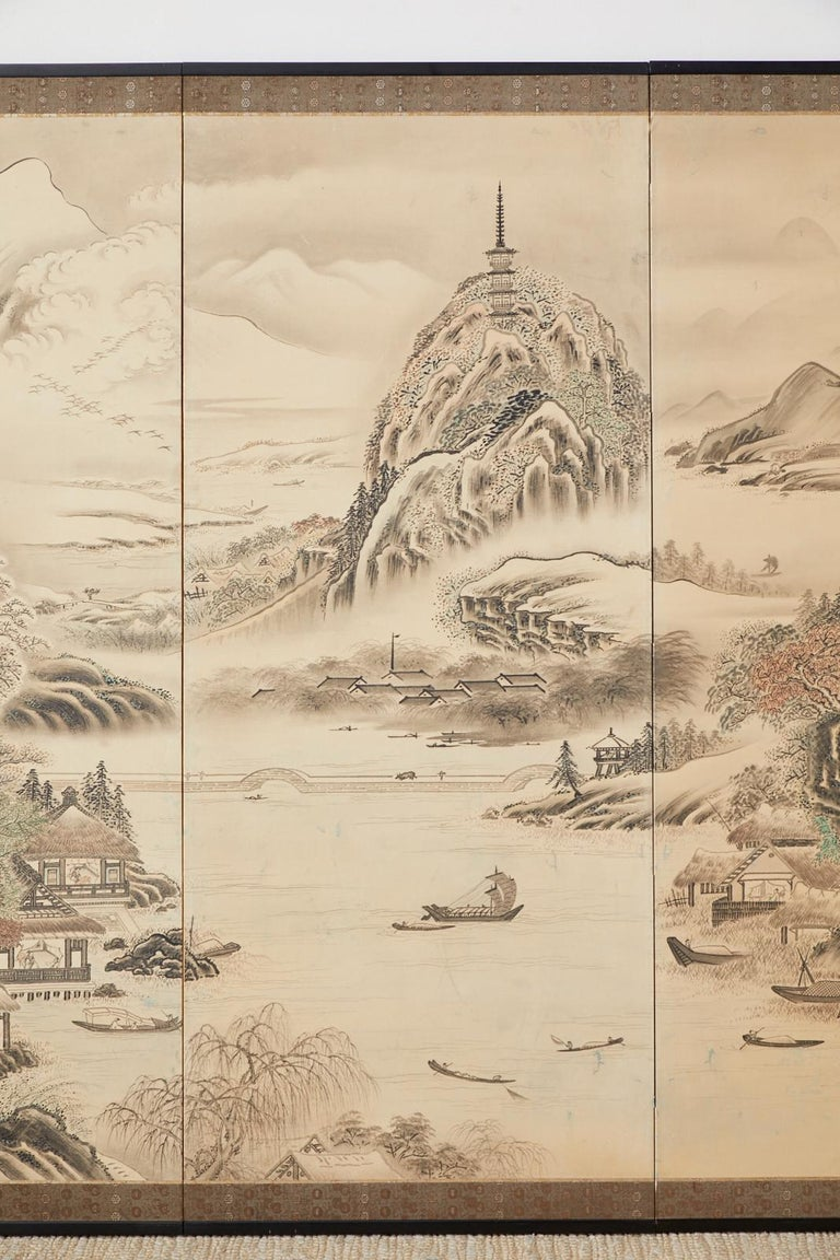 Japanese Edo Four-Panel Screen Hangzhou Autumn Landscape In Good Condition For Sale In Oakland, CA
