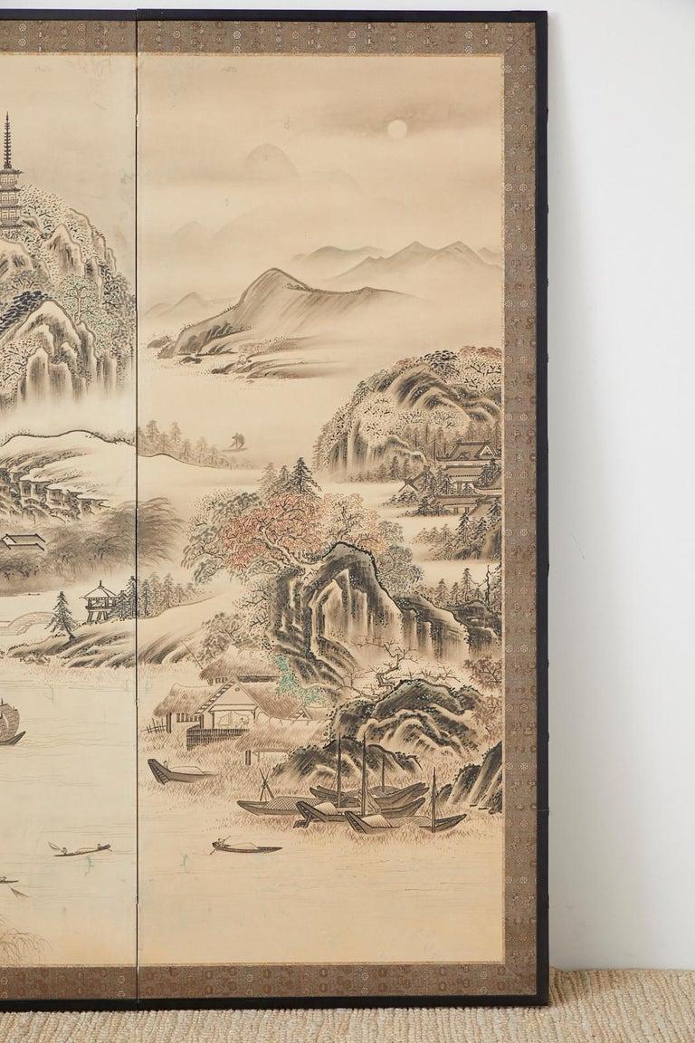 19th Century Japanese Edo Four-Panel Screen Hangzhou Autumn Landscape For Sale