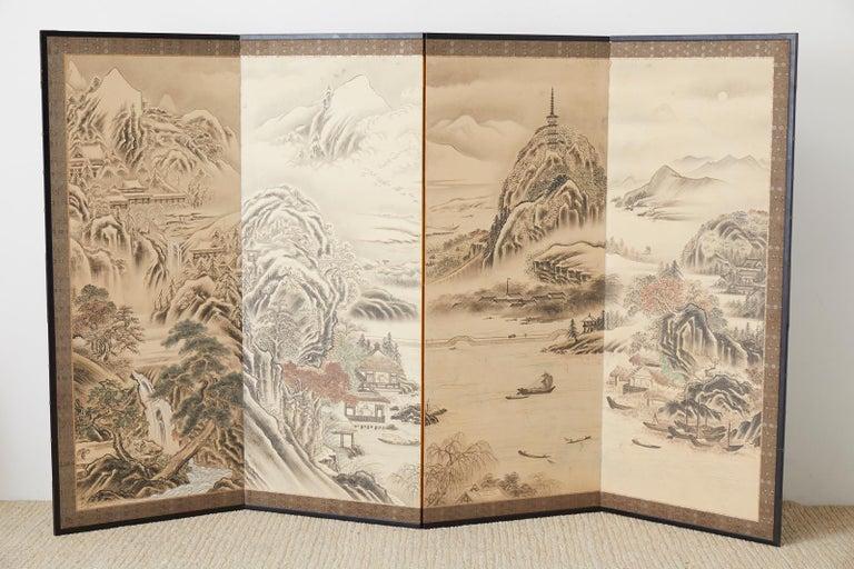 Brass Japanese Edo Four-Panel Screen Hangzhou Autumn Landscape For Sale
