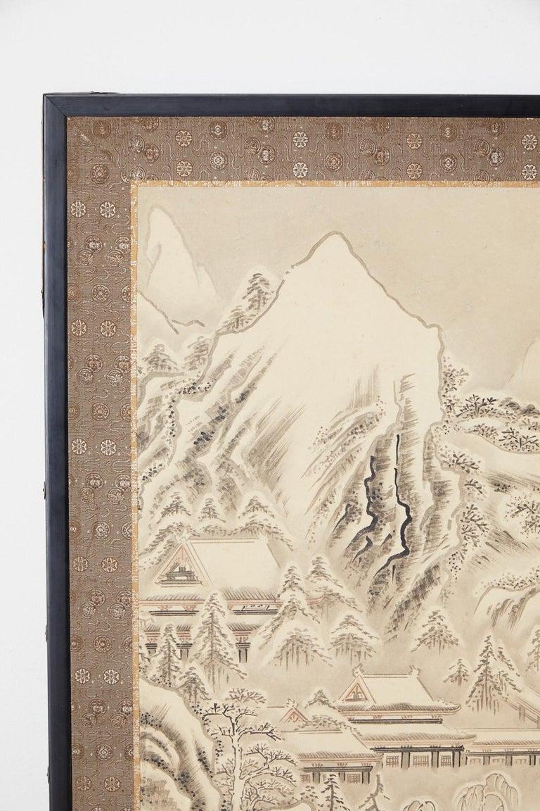Japanese Edo Four-Panel Screen Hangzhou Autumn Landscape For Sale 1