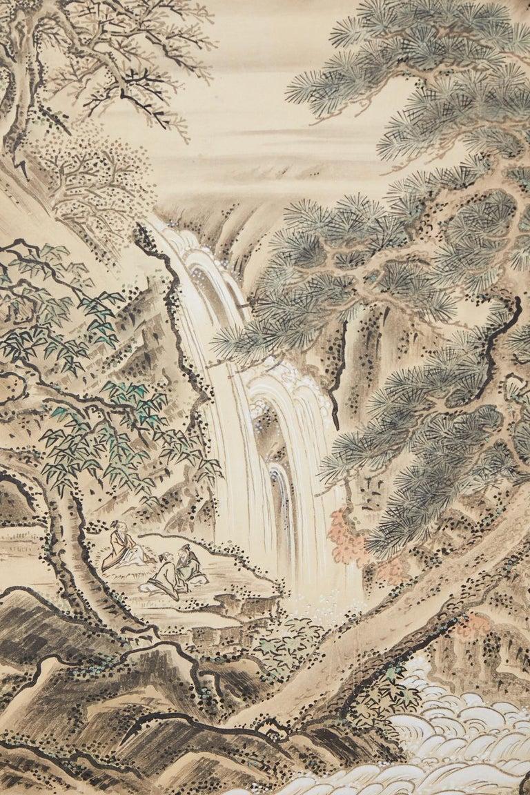 Japanese Edo Four-Panel Screen Hangzhou Autumn Landscape For Sale 2