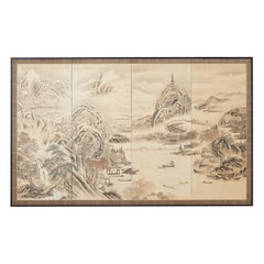 Japanese Edo Four-Panel Screen Hangzhou Autumn Landscape