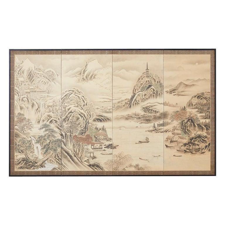 Japanese Edo Four-Panel Screen Hangzhou Autumn Landscape For Sale