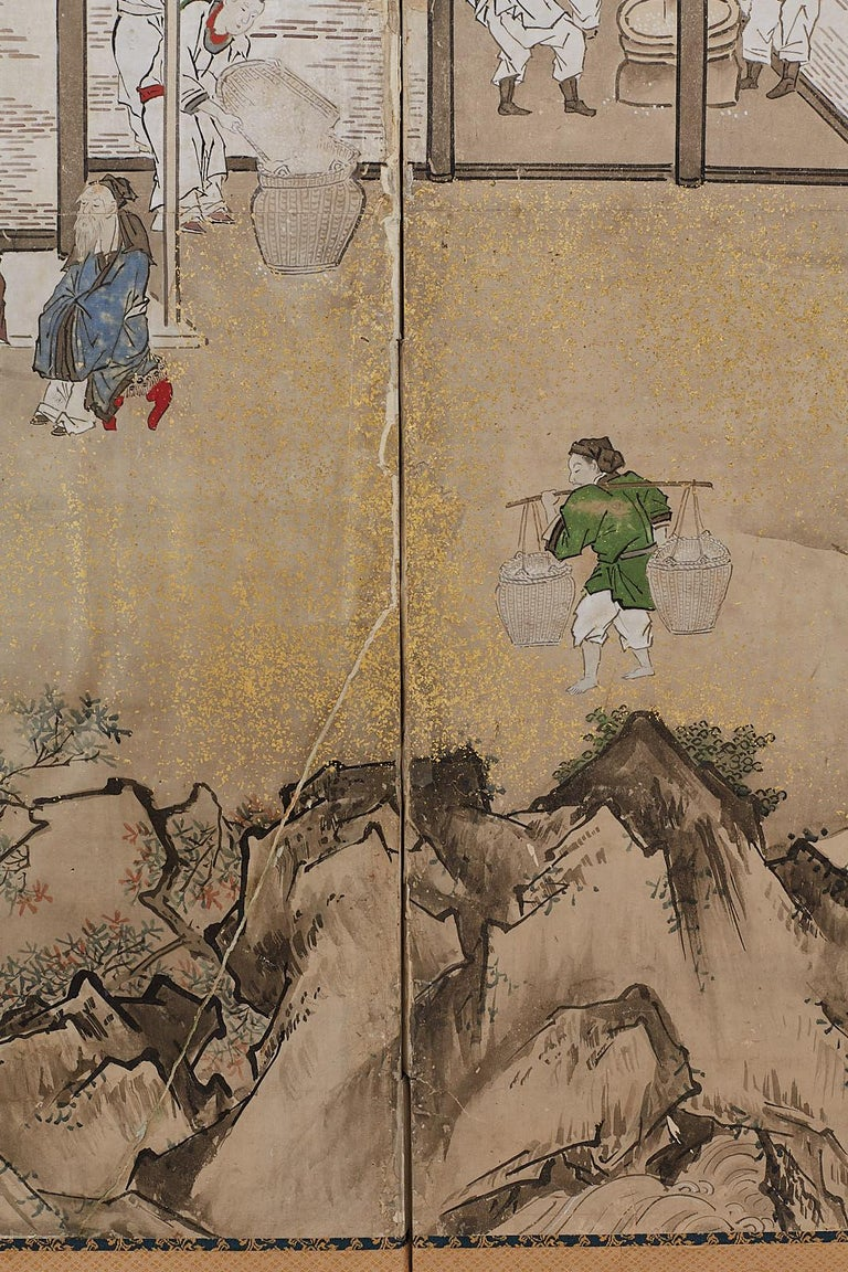 Japanese Edo Four-Panel Screen of Village Life For Sale 4