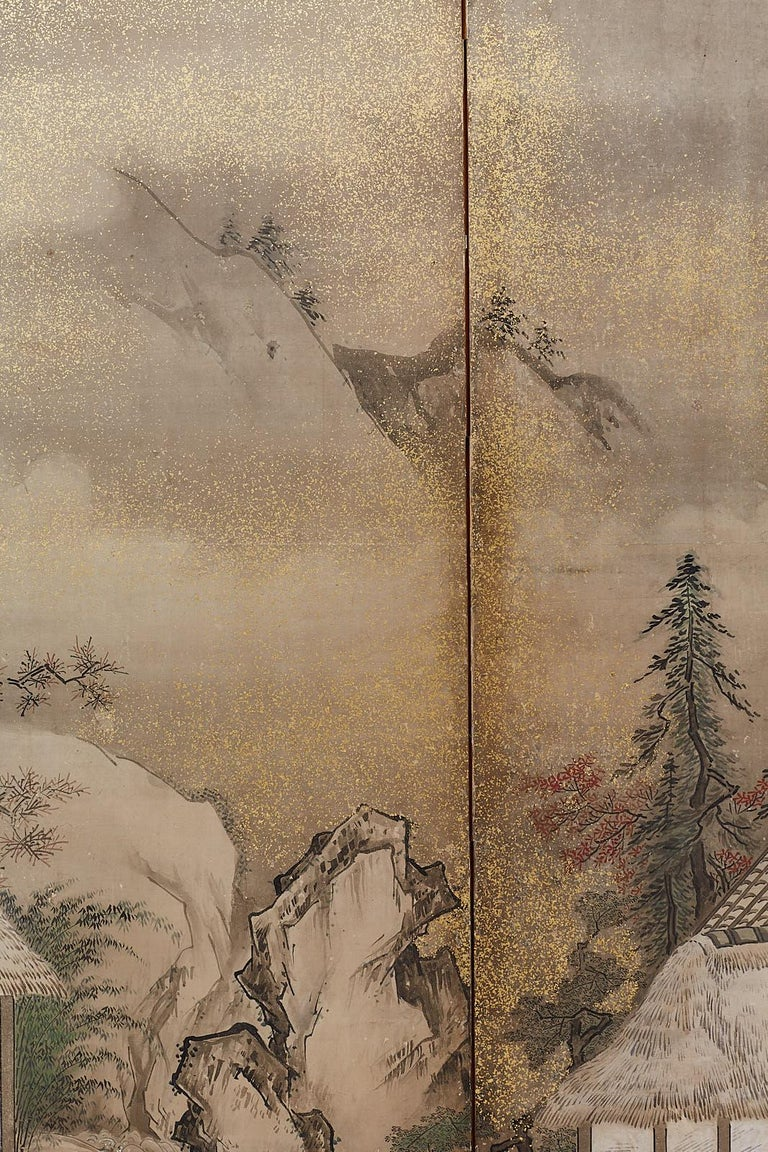 Japanese Edo Four-Panel Screen of Village Life For Sale 6