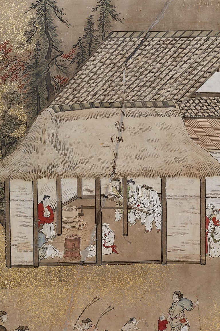Japanese Edo Four-Panel Screen of Village Life For Sale 7