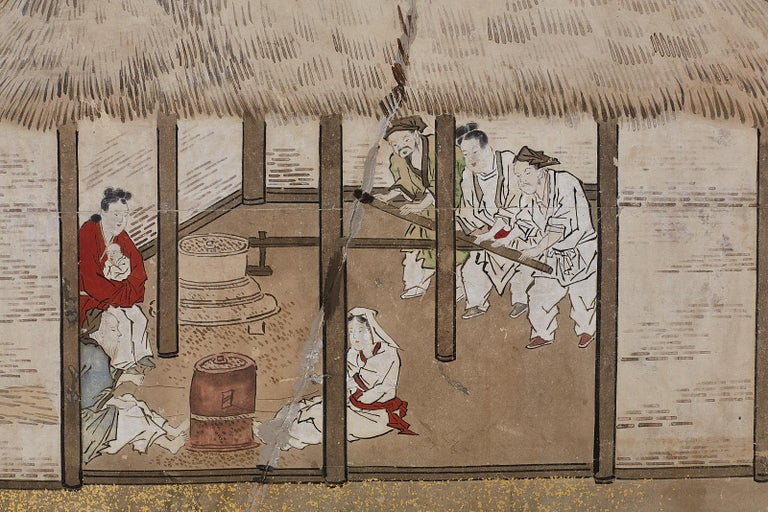 Japanese Edo Four-Panel Screen of Village Life For Sale 8