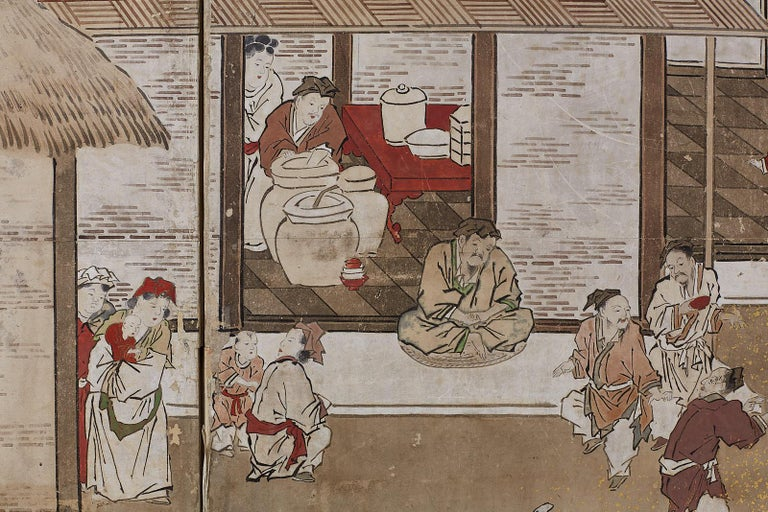 Japanese Edo Four-Panel Screen of Village Life For Sale 9