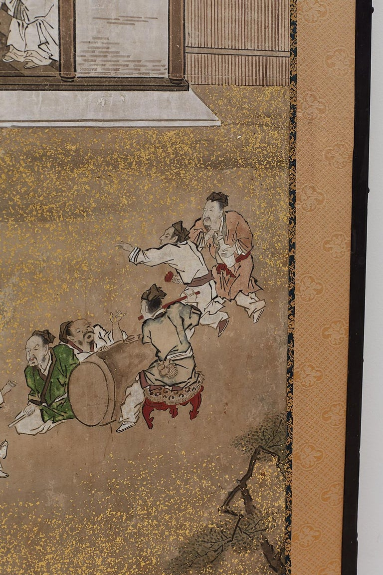 Japanese Edo Four-Panel Screen of Village Life For Sale 10