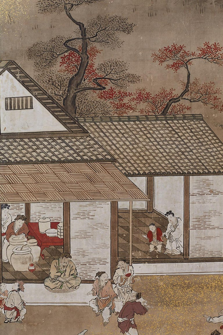 Japanese Edo Four-Panel Screen of Village Life For Sale 11