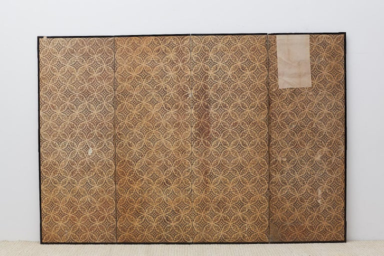 Japanese Edo Four-Panel Screen of Village Life For Sale 14