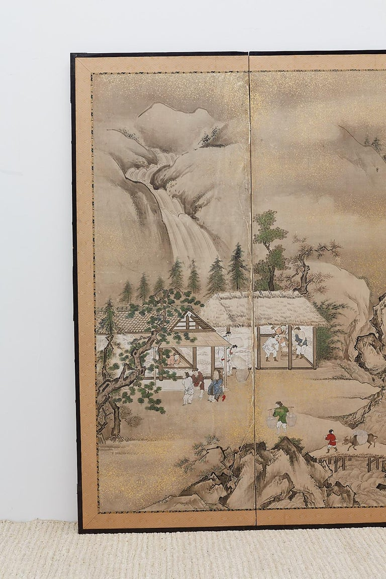 Hand-Crafted Japanese Edo Four-Panel Screen of Village Life For Sale