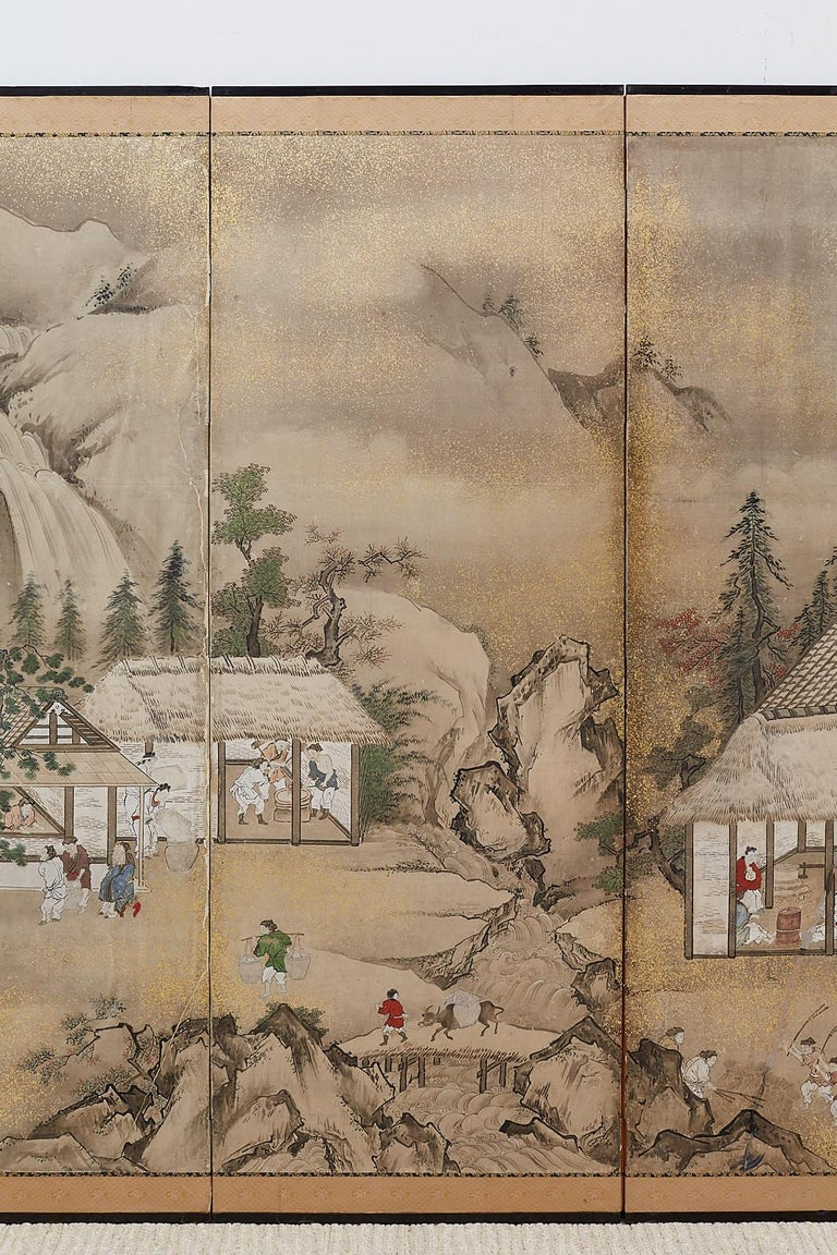 Japanese Edo Four-Panel Screen of Village Life In Distressed Condition For Sale In Oakland, CA