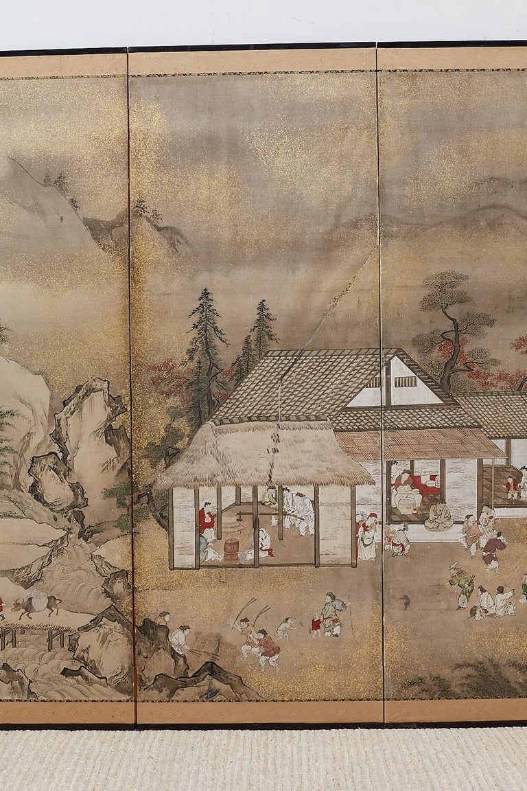 19th Century Japanese Edo Four-Panel Screen of Village Life For Sale