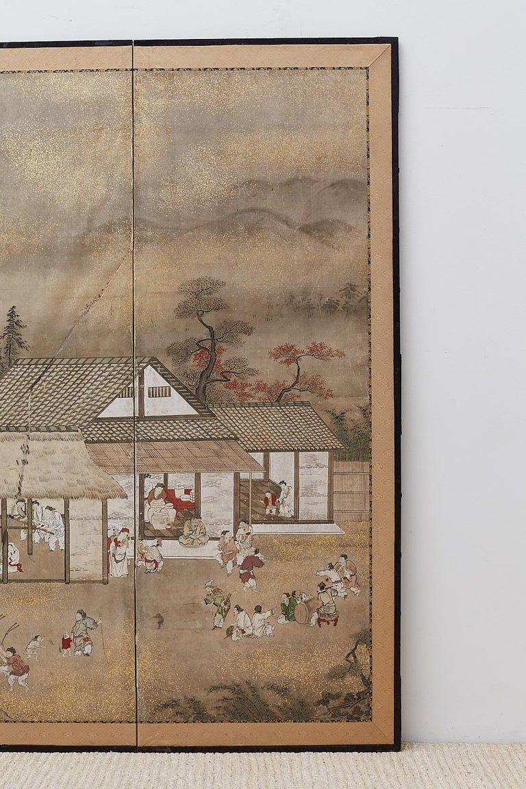 Silk Japanese Edo Four-Panel Screen of Village Life For Sale