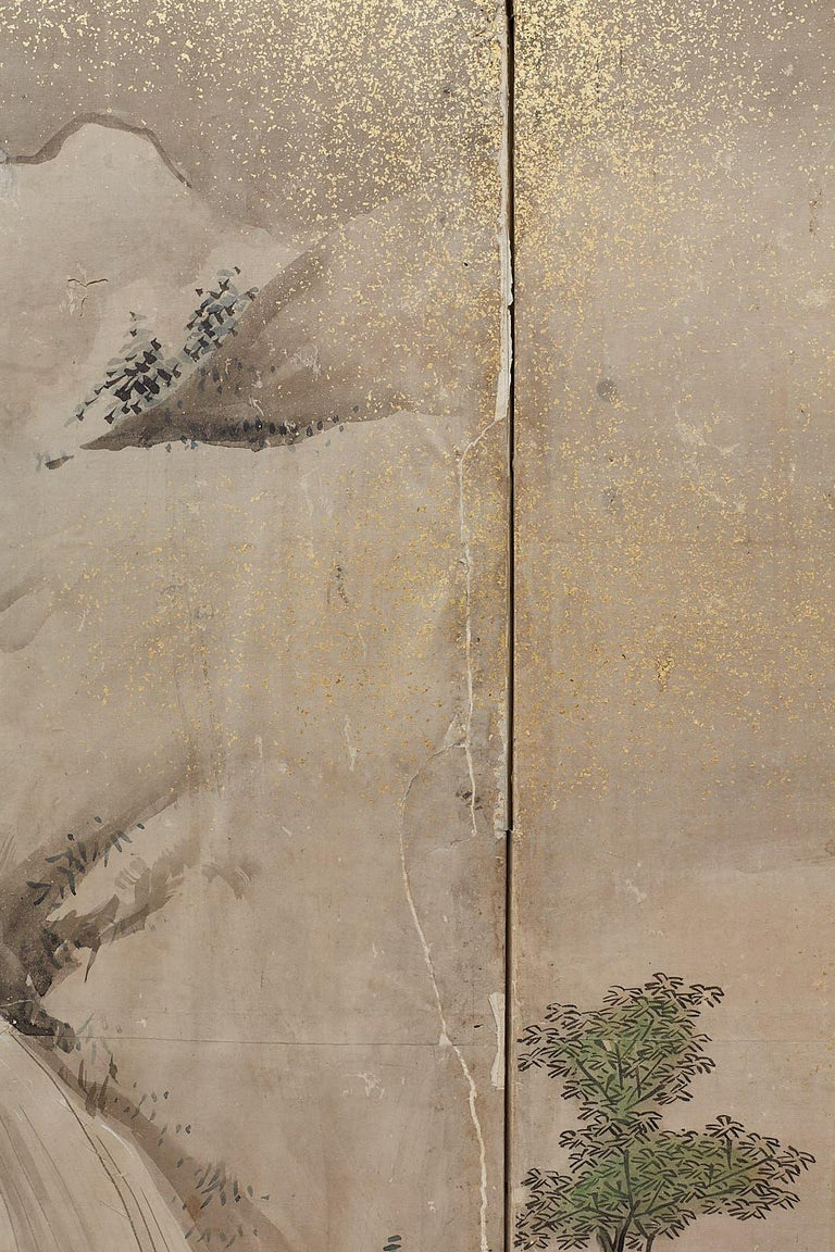 Japanese Edo Four-Panel Screen of Village Life For Sale 1