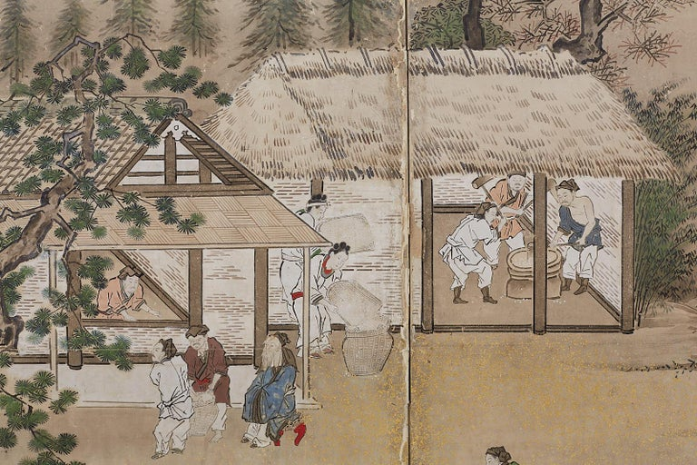 Japanese Edo Four-Panel Screen of Village Life For Sale 2