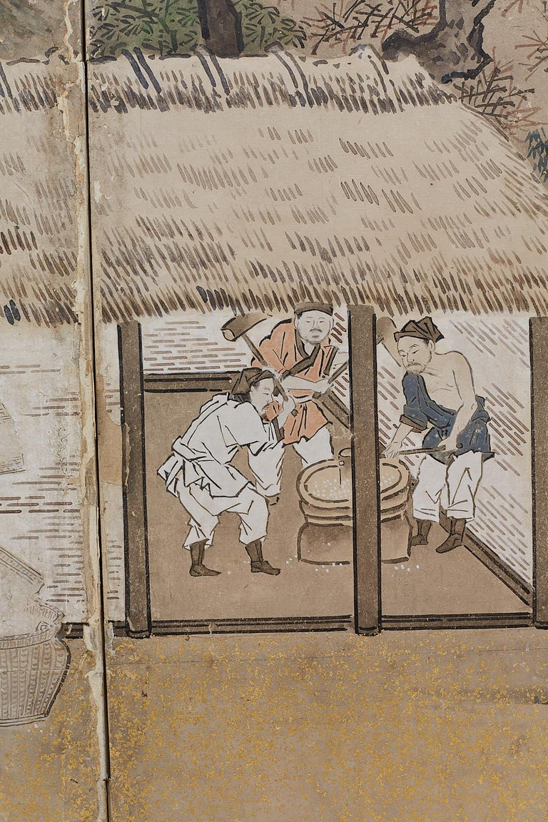Japanese Edo Four-Panel Screen of Village Life For Sale 3