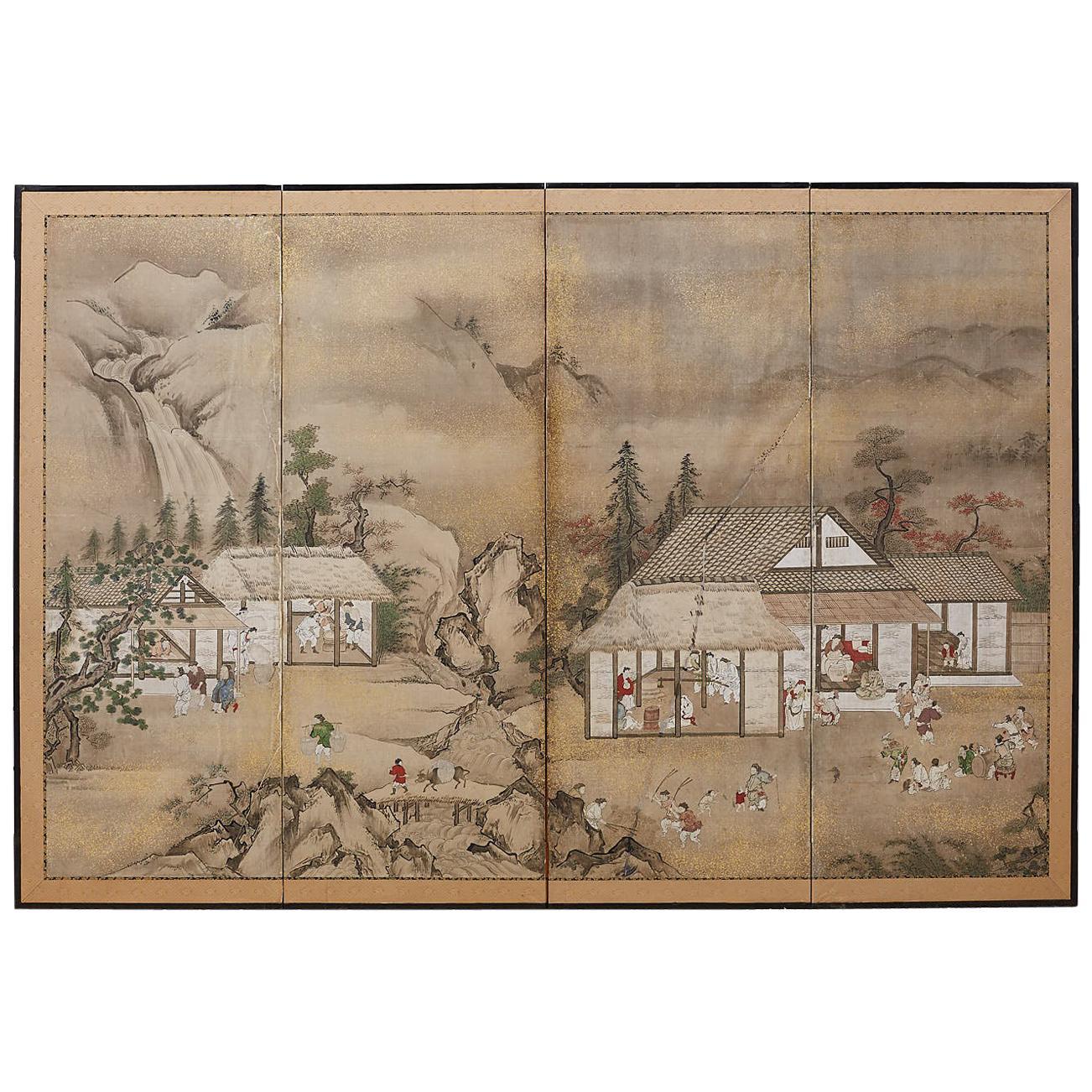 Japanese Edo Four-Panel Screen of Village Life