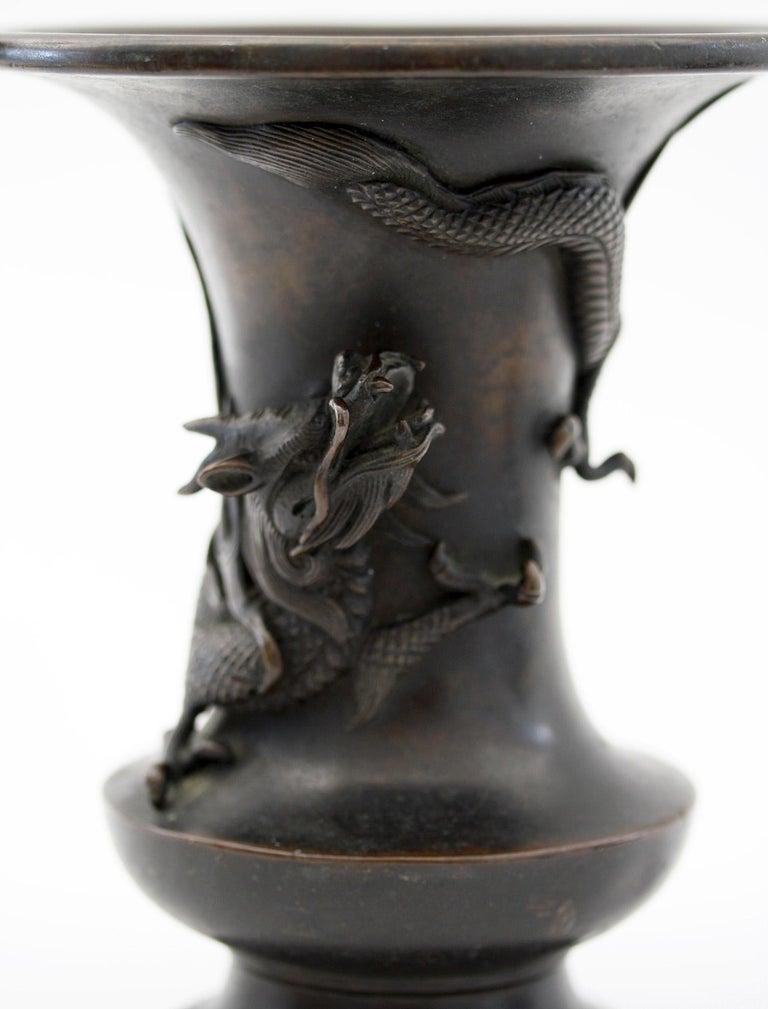 Japanese Edo/Meiji Signed Bronze Campana Shape Dragon Vase, 19th Century For Sale 7
