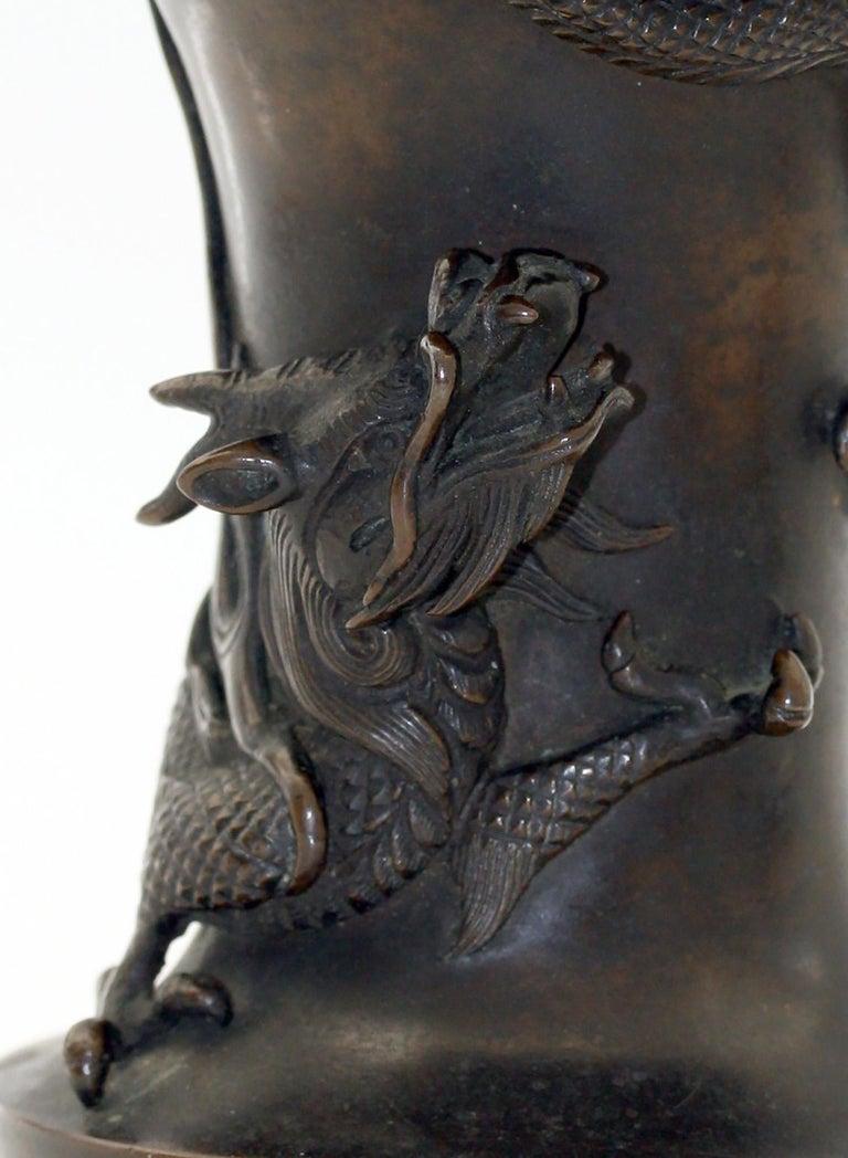 Japanese Edo/Meiji Signed Bronze Campana Shape Dragon Vase, 19th Century For Sale 8