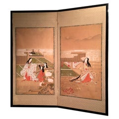 Japanese Edo Painted Screen with Imperial Court Scenes