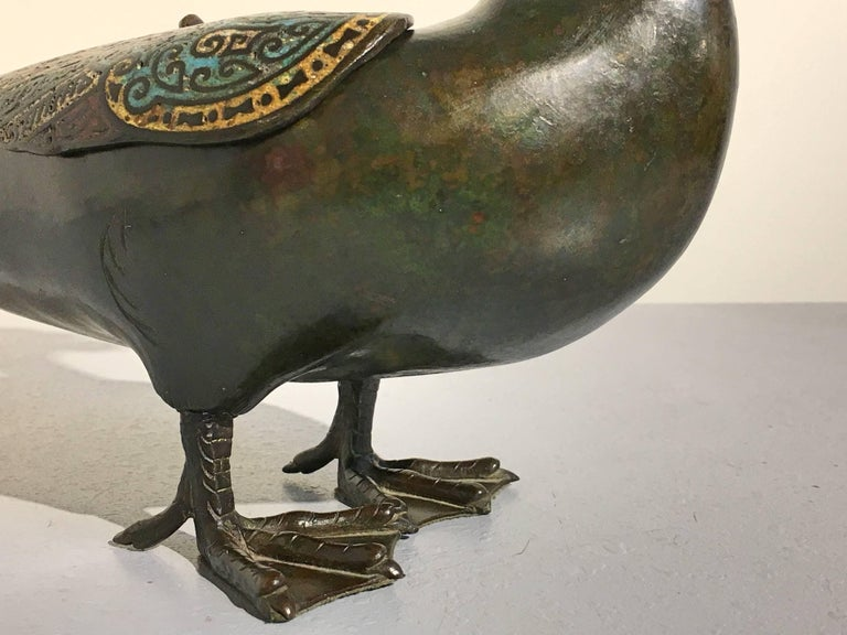 Japanese Edo Period Bronze and Champleve Goose Form Censer, Mid-19th Century For Sale 6