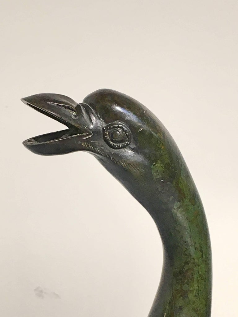 Japanese Edo Period Bronze and Champleve Goose Form Censer, Mid-19th Century For Sale 3
