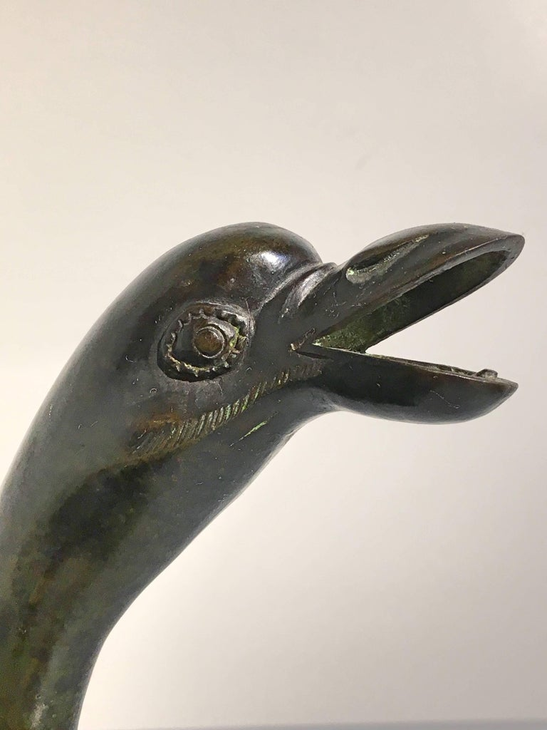 Japanese Edo Period Bronze and Champleve Goose Form Censer, Mid-19th Century For Sale 4