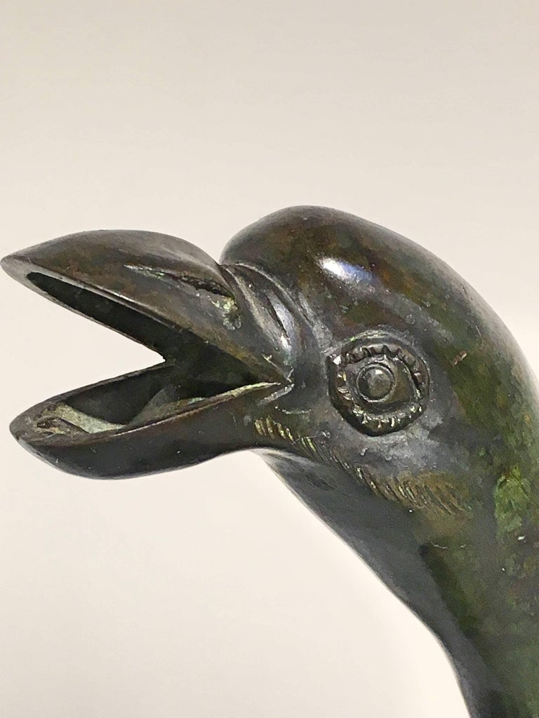 Japanese Edo Period Bronze and Champleve Goose Form Censer, Mid-19th Century For Sale 5