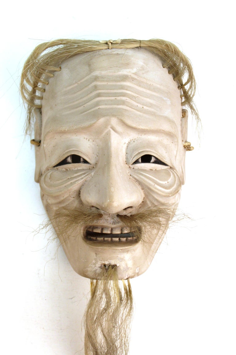 Japanese Edo Period Carved Wood Mask of Old Man Ko-Jo In Good Condition For Sale In New York, NY