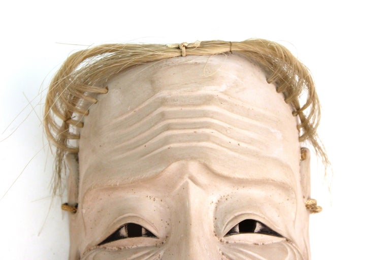 Early 19th Century Japanese Edo Period Carved Wood Mask of Old Man Ko-Jo For Sale