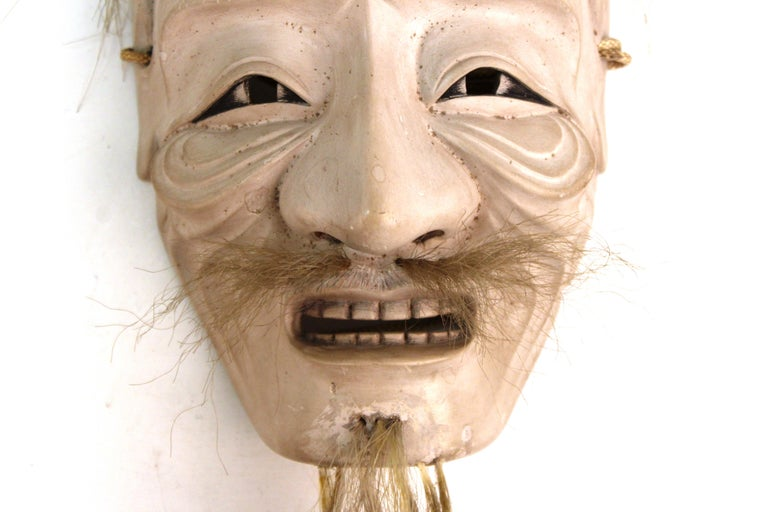 Japanese Edo Period Carved Wood Mask of Old Man Ko-Jo For Sale 1