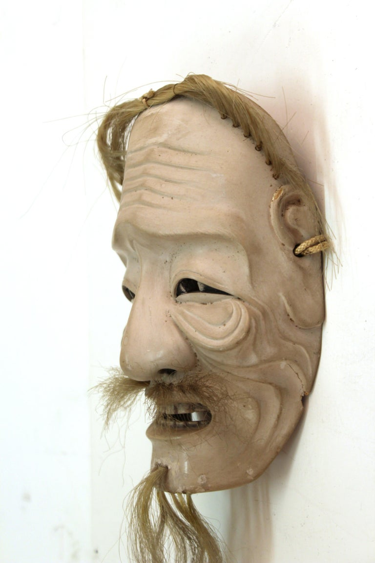 Japanese Edo Period Carved Wood Mask of Old Man Ko-Jo For Sale 2