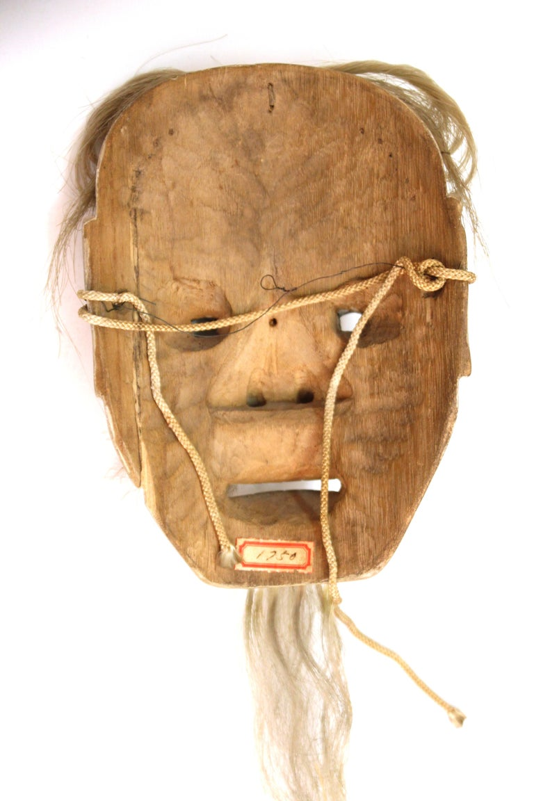 Japanese Edo Period Carved Wood Mask of Old Man Ko-Jo For Sale 3