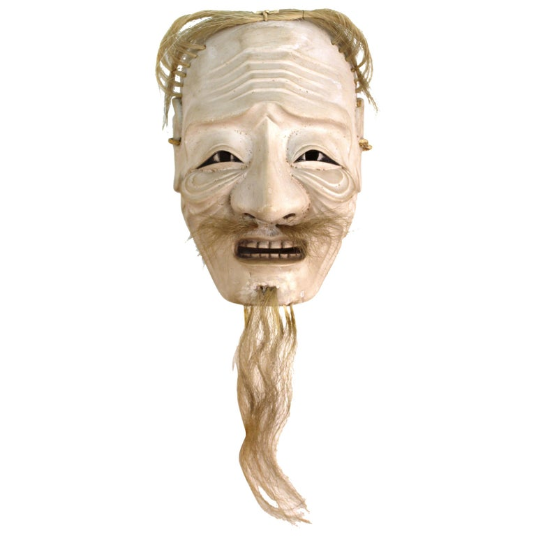 Japanese Edo Period Carved Wood Mask of Old Man Ko-Jo For Sale