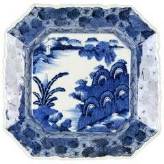 Japanese Edo Period Imari Porcelain Blue & White Octagonal Dish