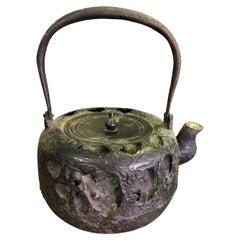 Japanese Edo Period Iron Tetsubin Tea Pot Kettle with Turtle Motif Decoration