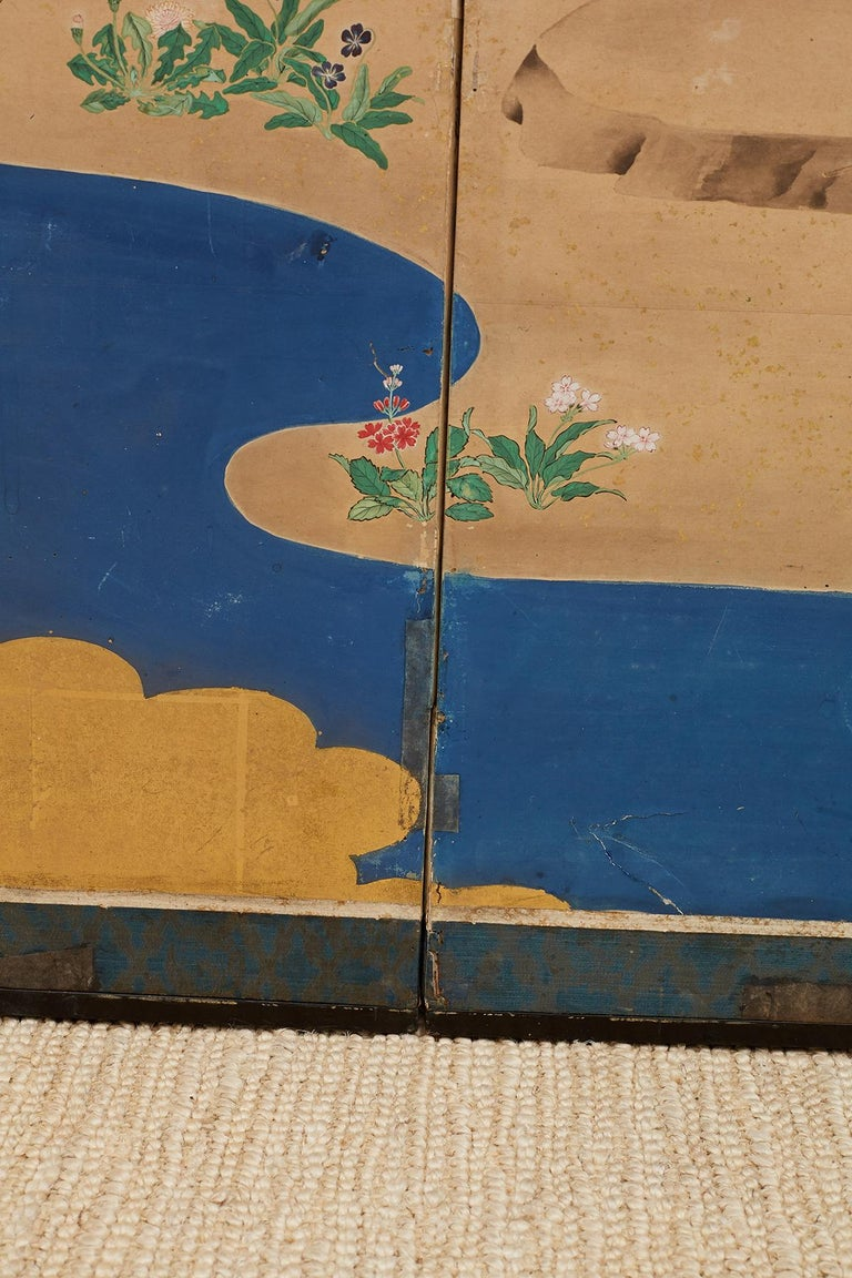 Japanese Edo Period Kano School Six Panel Screen For Sale 13
