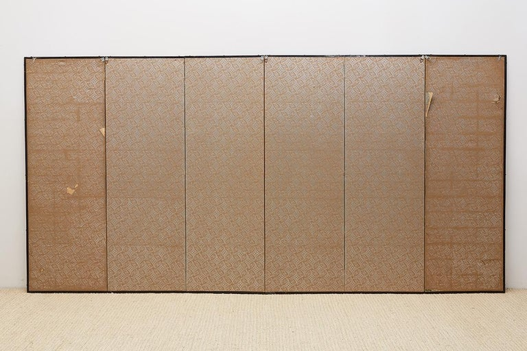 Japanese Edo Period Kano School Six Panel Screen For Sale 14