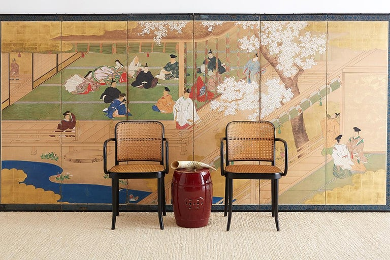 Wood  Japanese Edo Period Kano School Six Panel Screen For Sale